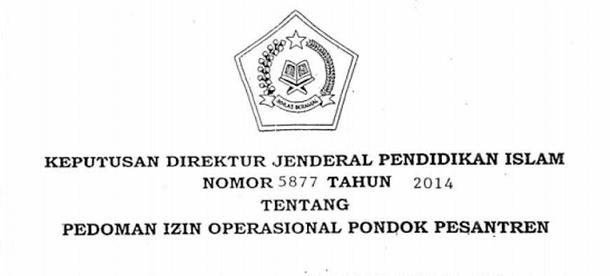 Pedoman Izin Pendirian Pesantren SK Dirjen Nomor 5877 Tahun 2014