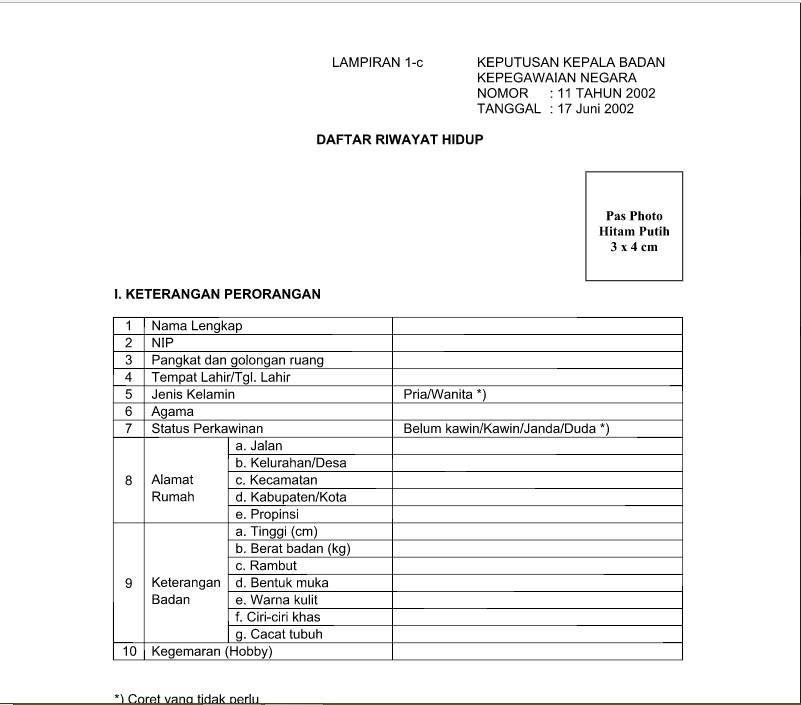 Formulir Daftar Riwayat Hidup Pns Cpns Format Word Dari Bkn Gratis
