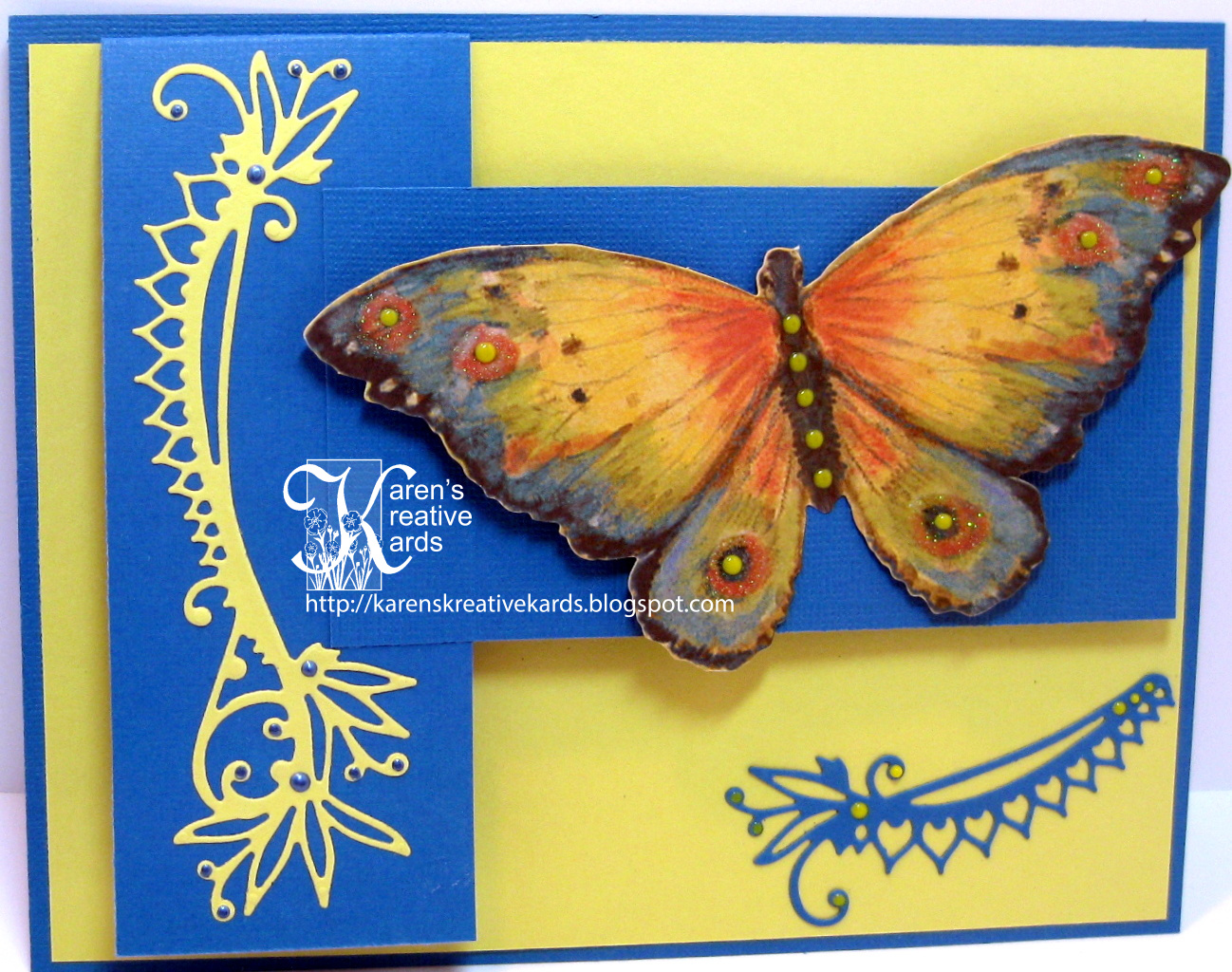Stamp Goes On What Side Karen S Kreative Kards Beautiful Butterfly Card With