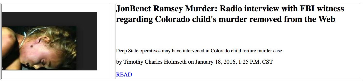 "a history of jon benet ramseys murder Michael helgoth, a man who worked near the ramsey home allegedly spoke to a friend the night of the murder saying that he would make ""between $50,000 and $80,000 that night"" helgoth had a history of violence and sexual abuse."