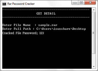 recover rar password with command in notepad