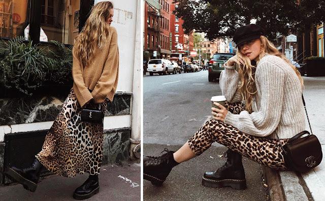 Леопардовая юбка и брюки со свитером оверсайз