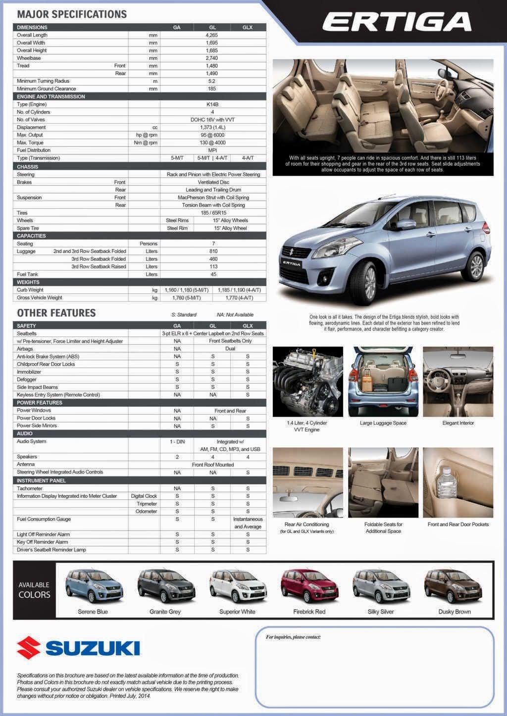 Maruti Suzuki Ertiga Price And Specification