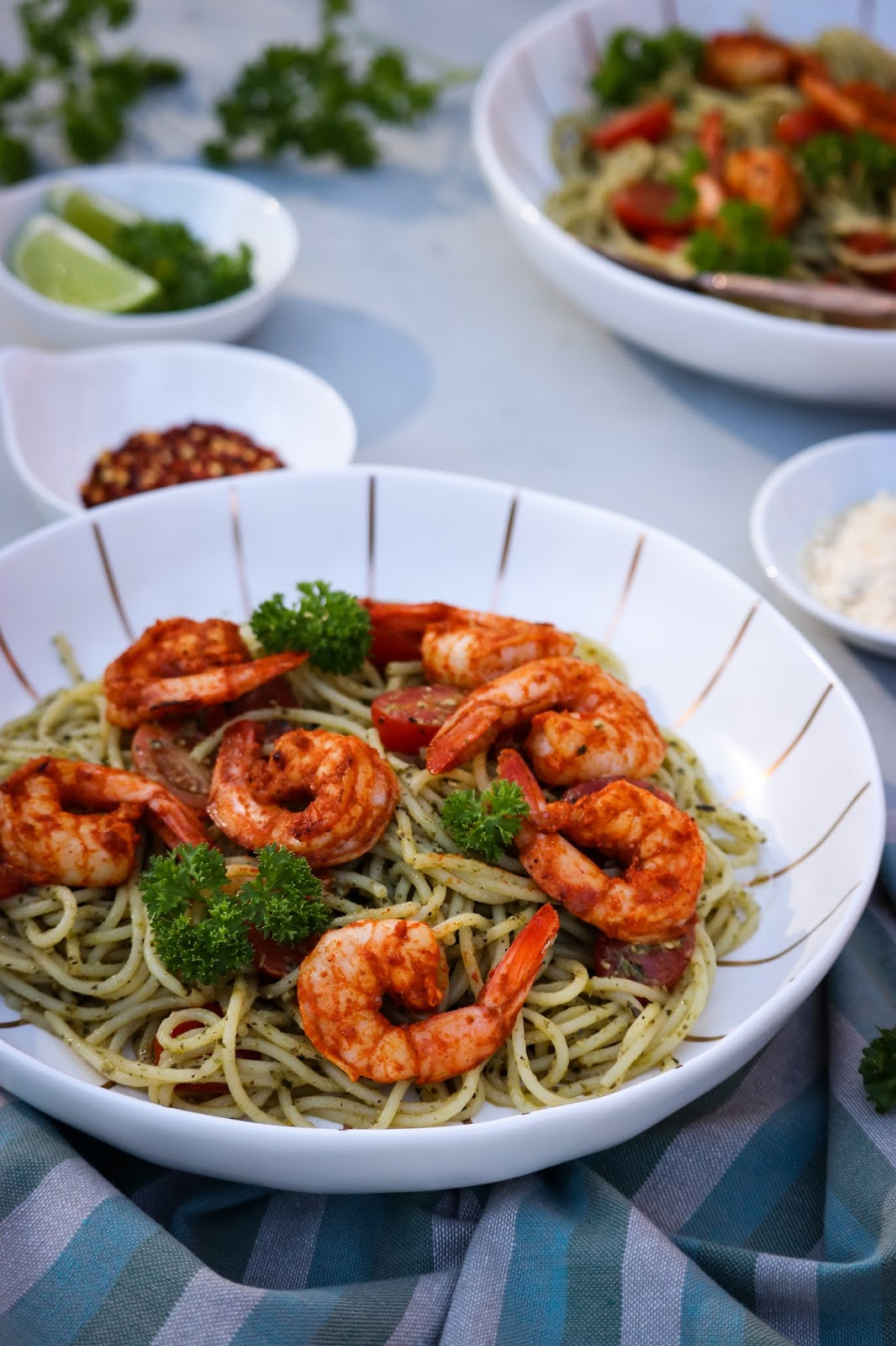 shrimp pesto pasta, green spaghetti, gluten free pasta, seafood, shrimp, st patricks day special, vegan, pesto pasta, food blogger, myriad musings