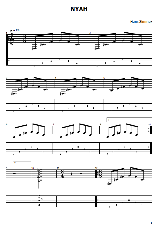 Nyah Tabs Mission: Impossible 2 Hans Zimmer  - How To Play Nyah On Guitar Tabs & Sheet Online