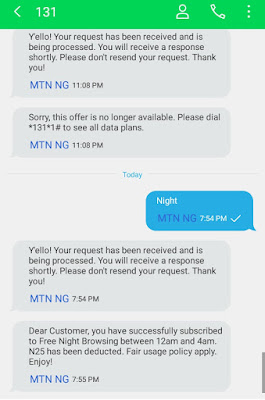 How To Subscribe For MTN Night Plan N25 For 500mb