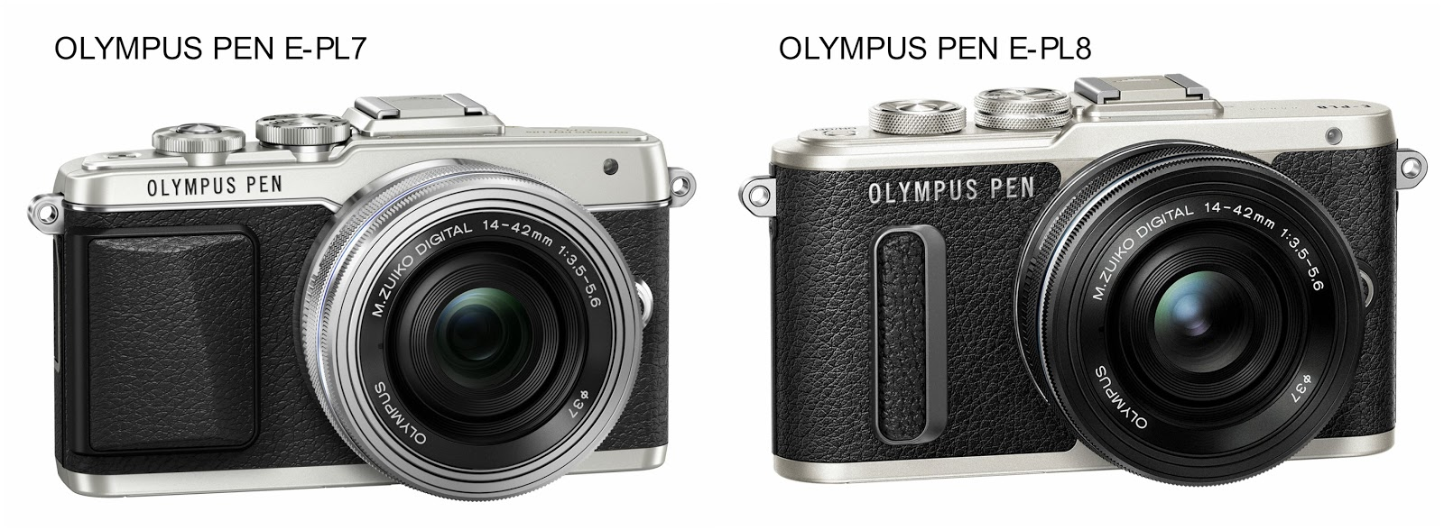 Olympus PEN E-PL7 versus E-PL8, size comparsion, design comparsion
