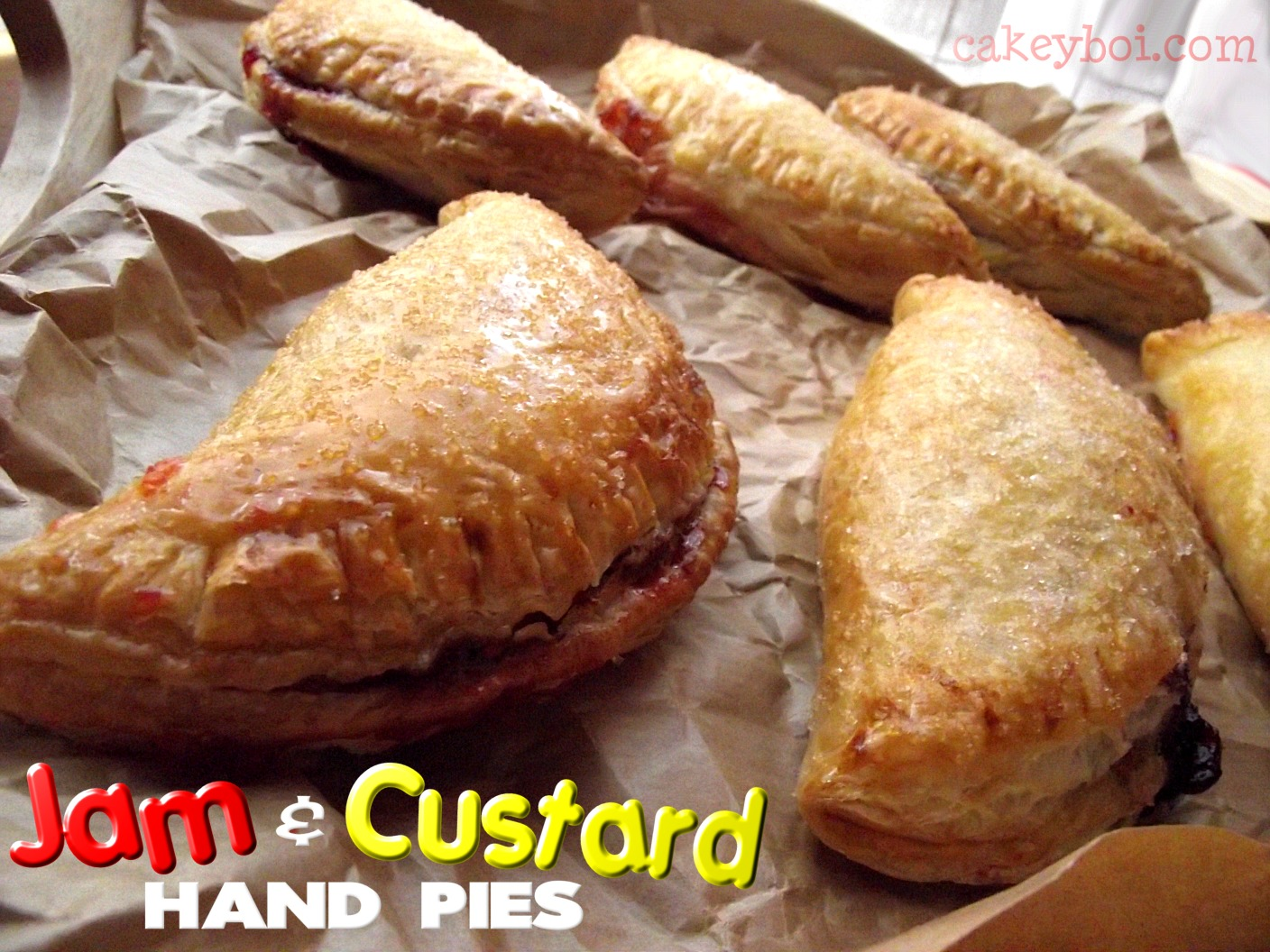 Jam and custard turnovers