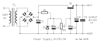 Electronic Project: 1A Power Supply with 0 to 15 Volts