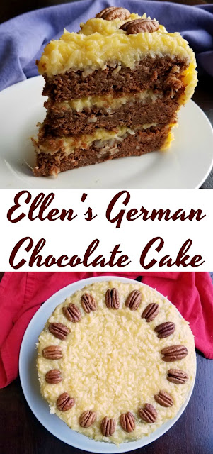 The German Chocolate Cake has all of the coconut and chocolate goodness you'd expect. It is a show stopper perfect for a party!