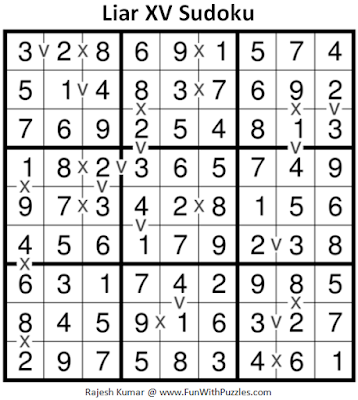 Liar XV Sudoku (Fun With Sudoku #223) Puzzle Answer