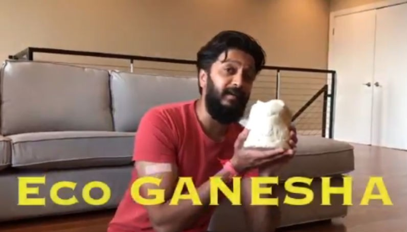 Riteish Deshmukh Makes eco-friendly Ganesha Idol
