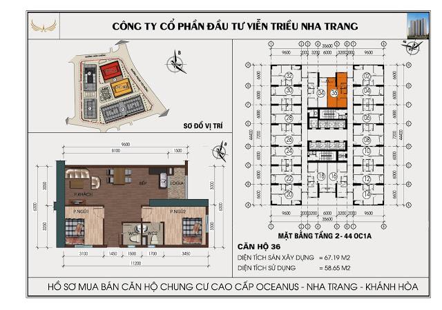 Sơ đồ căn hộ số 36  tòa OC1A Viễn Triều Nha Trang