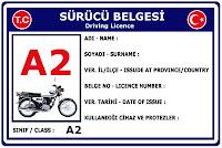 A2 Sınıfı Sürücü Belgesi Ehliyet