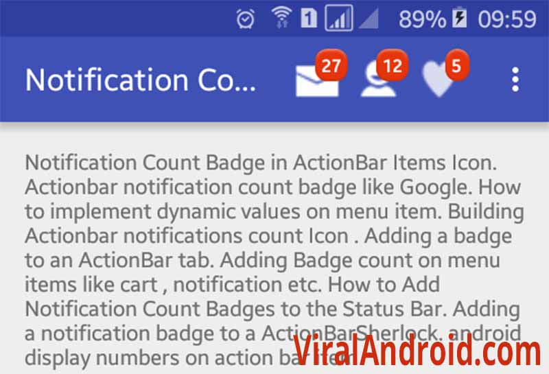 Adding Badge (Notification Count) to Android ActionBar Icon