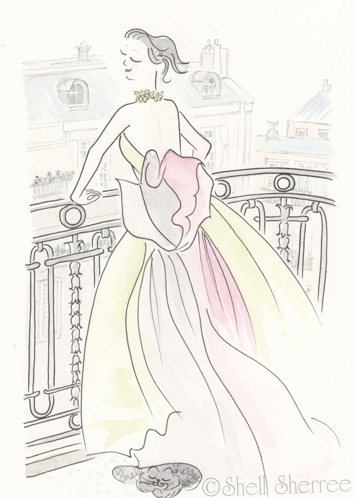 Paris Illustration Fashion & Fluffballs : Taffeta Tango in Paris © Shell-Sherree