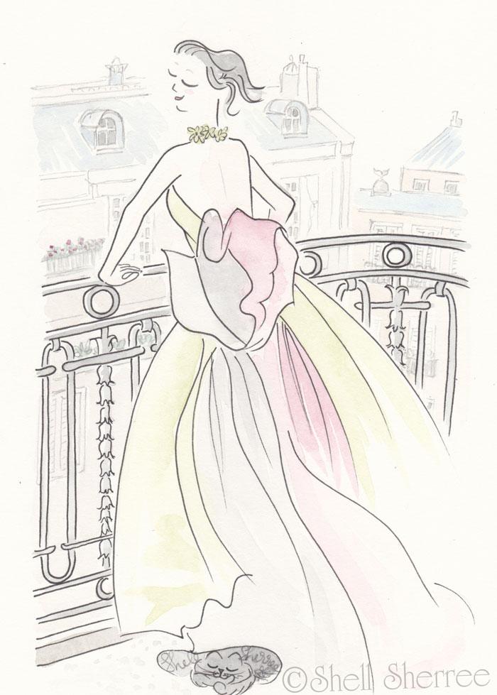 Paris Illustration Fashion & Fluffballs : Taffeta Tango in Paris © Shell-Sherree