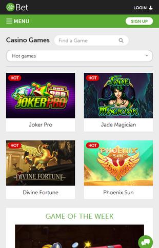 24hbet Casino Games Screen