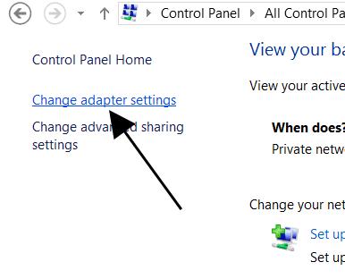 Change Adapter Settings Option
