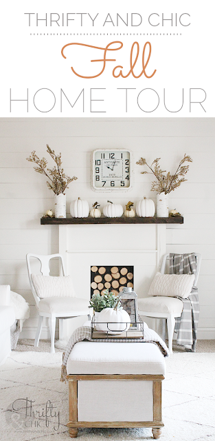 Neutral and white farmhouse living room decor and decorating ideas. Neutral Fall decor