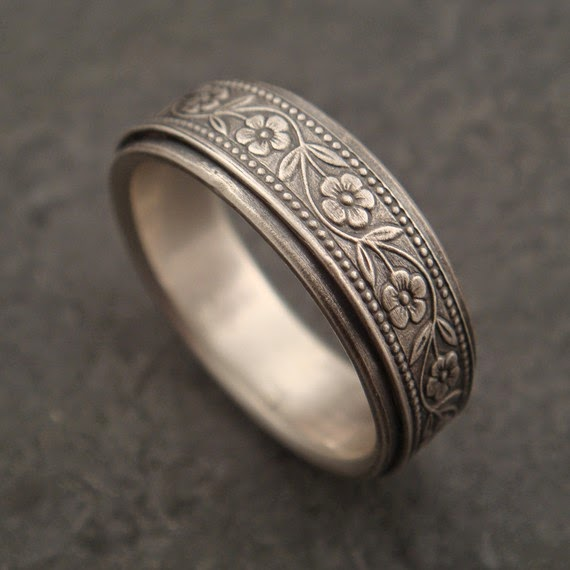 sterling silver floral wedding band