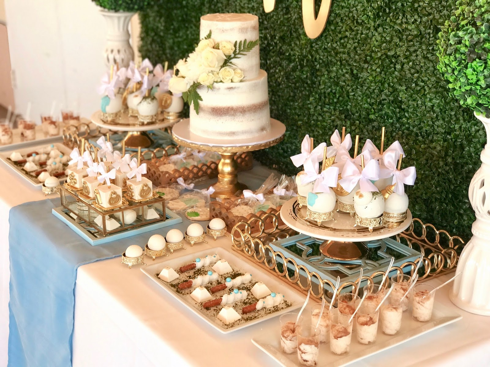 Baby Shower Dessert Table, gold desserts, dessert table ideas