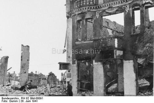 Destroyed buildings in Tauroggen, Lithuania 28 June 1941 worldwartwo.filminspector.com