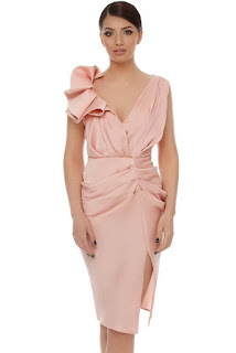 Rochie de ocazie mulata rose cu pliuri si volane