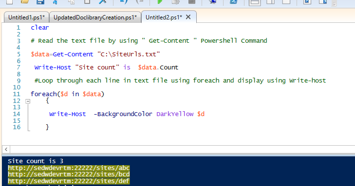 SharePoint : PowerShell Script to read SiteUrl's from Text file