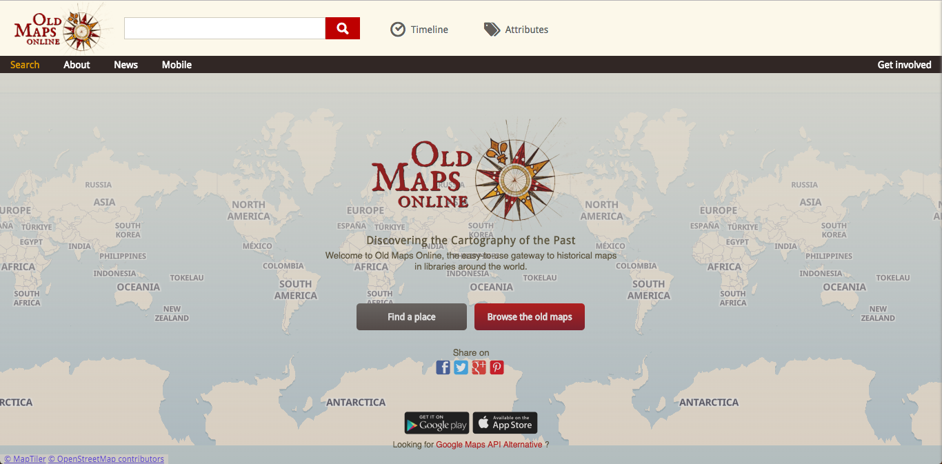 Old Maps Online 用地圖搜尋世界各國歷史地圖圖庫