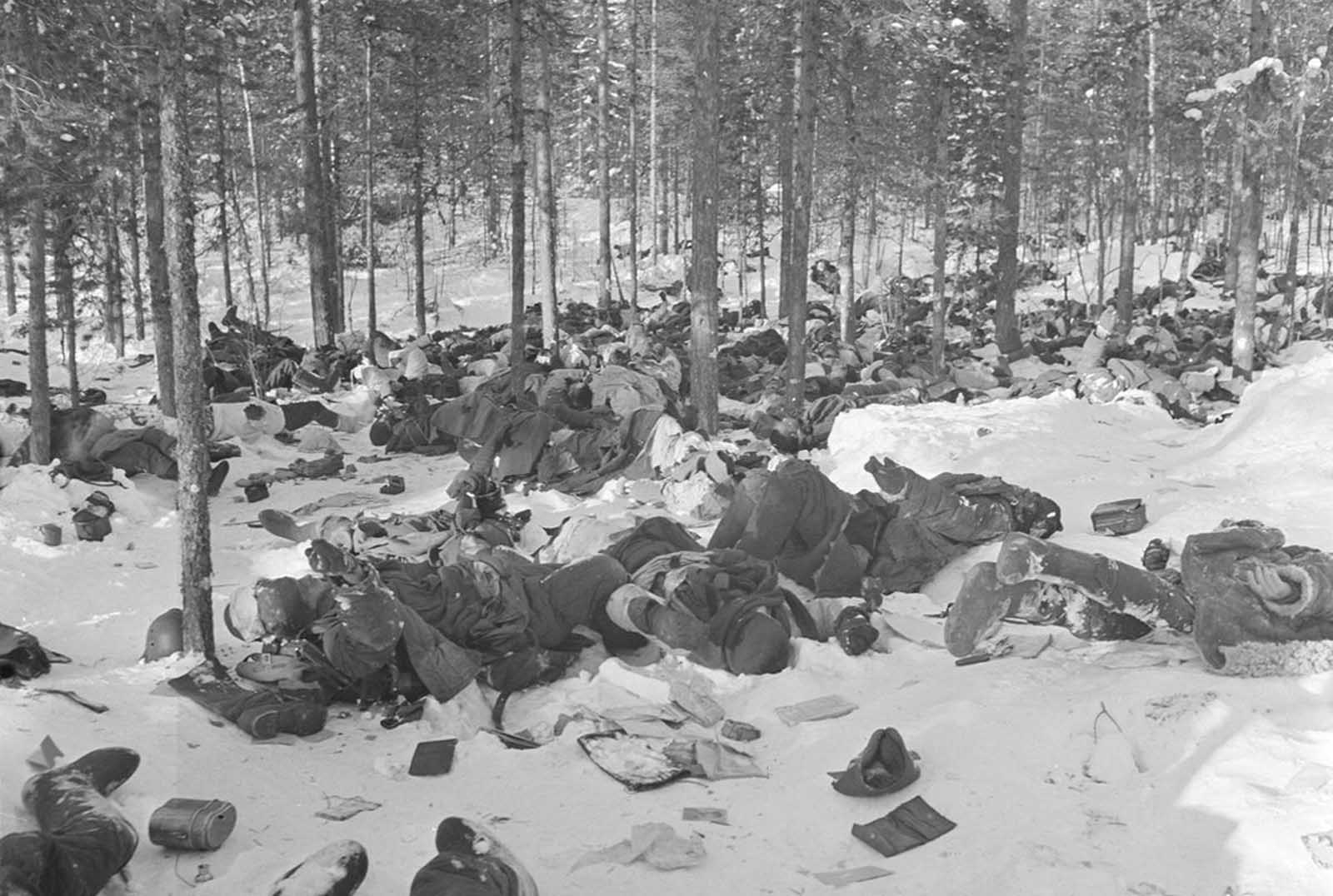 Some of an estimated 400 Russian soldiers killed in a battle, on February 1, 1940.