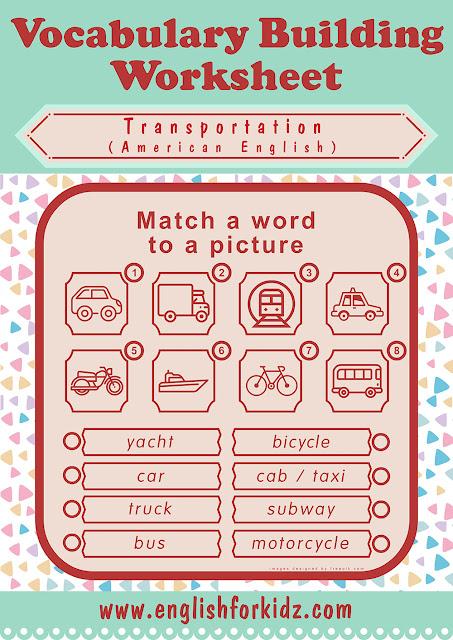Free printable transportation worksheet for ESL students