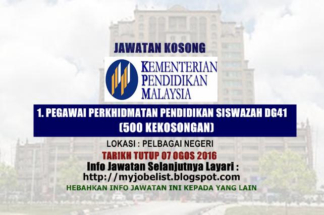 Jawatan Kosong di Kementeri Pendidikan Malaysia (MOE)