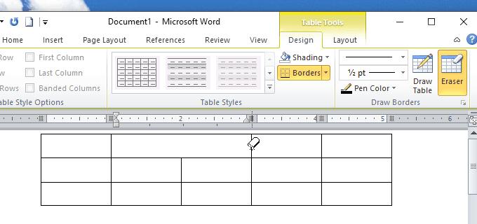 Hướng dẫn dùng eraser để gộp ô bảng trong Word