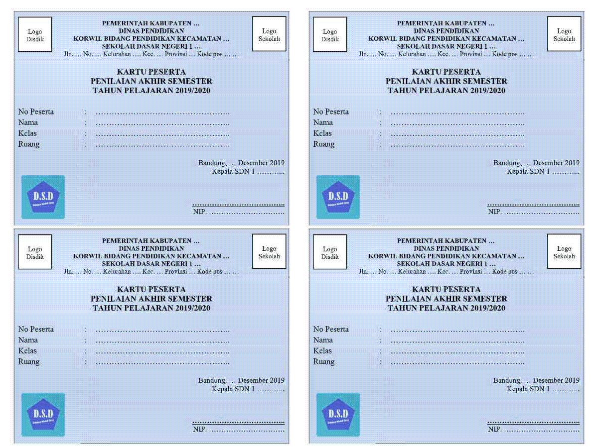 Contoh Format Kartu Peserta PAS atau Penilaian Akhir Semester