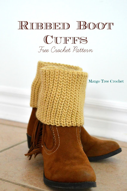 Ribbed Boot Cuffs Free Crochet Pattern