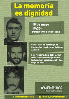 Cartel del acto de dignificación por las víctimas del 'Caso Almería' en el Parlamento de Cantabria esta tarde a las 19:30 horas.