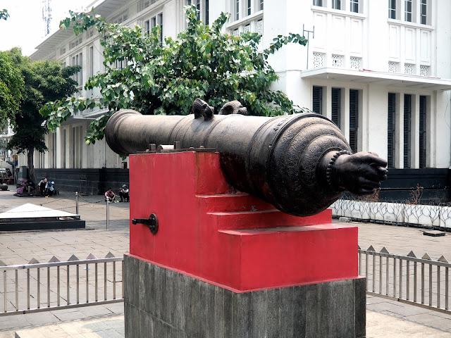 Si Jagur fertility cannon in Fatahillah Square, Little Amsterdam Holland old town, Jakarta, Indonesia