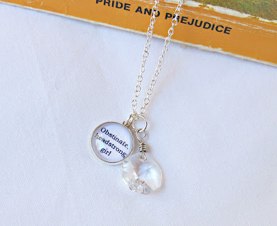 jane austen pride and prejudice obstinate headstrong girl quote necklace chandelier crystal jewellery two cheeky monkeys