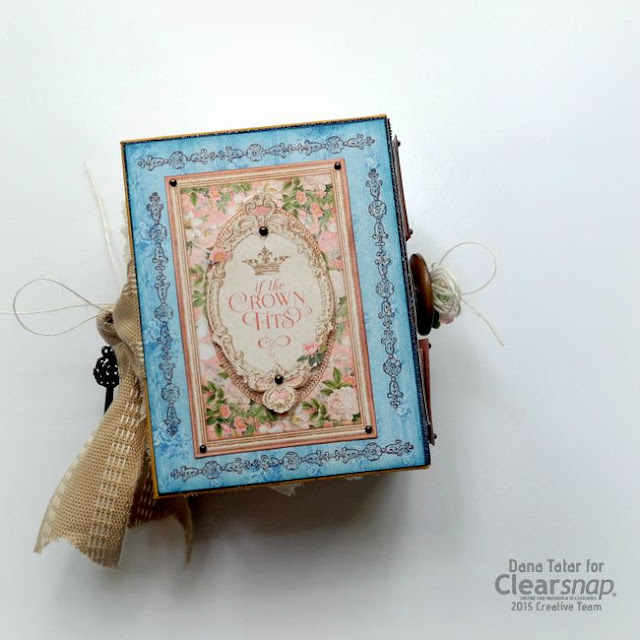 Graphic 45 Gilded Lily ATC Book Box Back Cover by Dana Tatar for Clearsnap