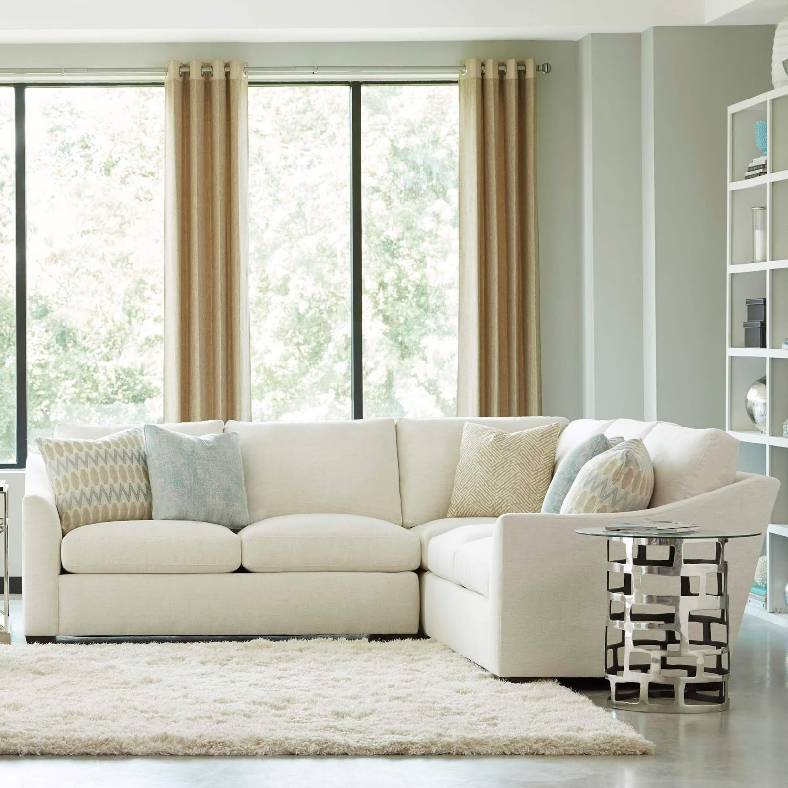 Sofa With Glass And Metal Side Table
