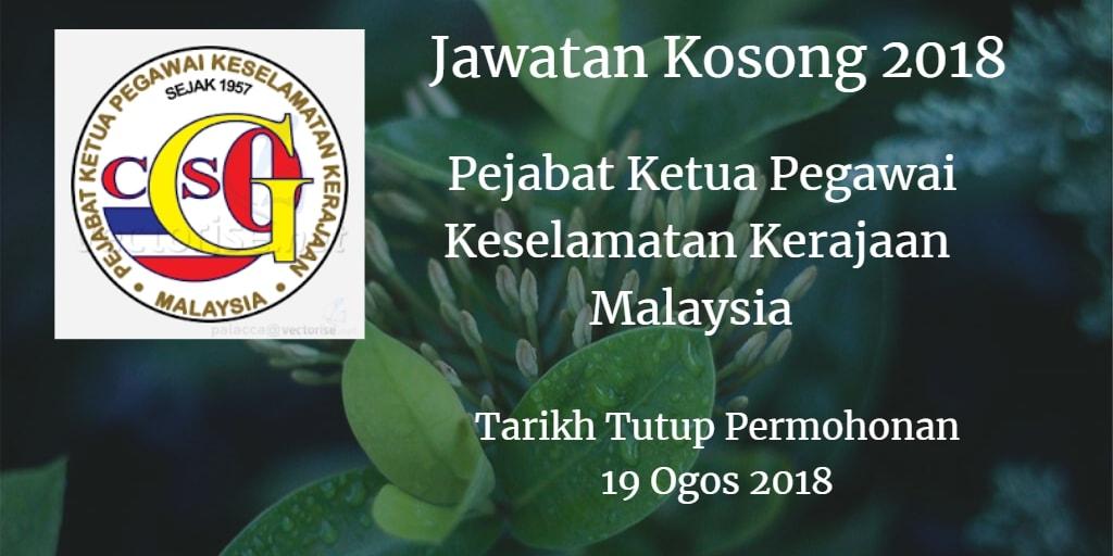 Jawatan Kosong CGSO 19 Ogos 2018