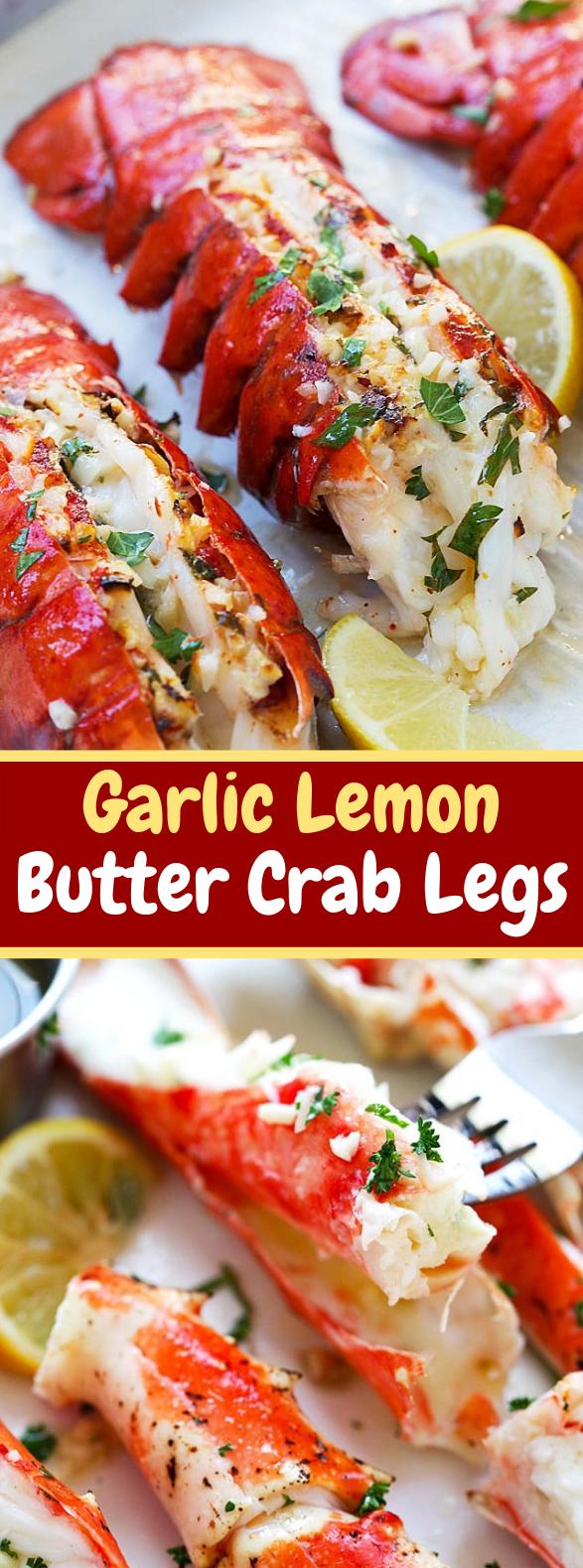 Garlic Lemon Butter Crab Legs #dinner #americanrecipe