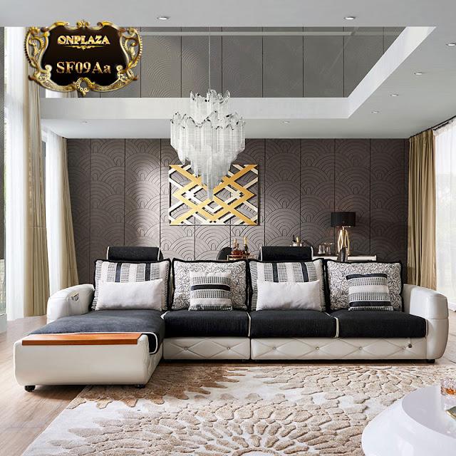 Bộ ghế sofa hiện đại có ngăn tủ nhập khẩu cao cấp 3 băng góc phải sang trọng