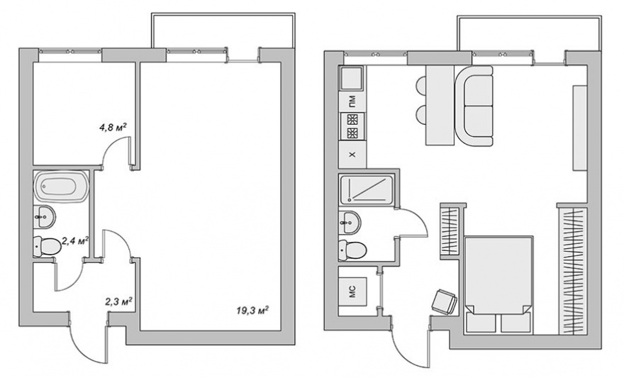 as at 29 square metres to create a two bedroom apartment