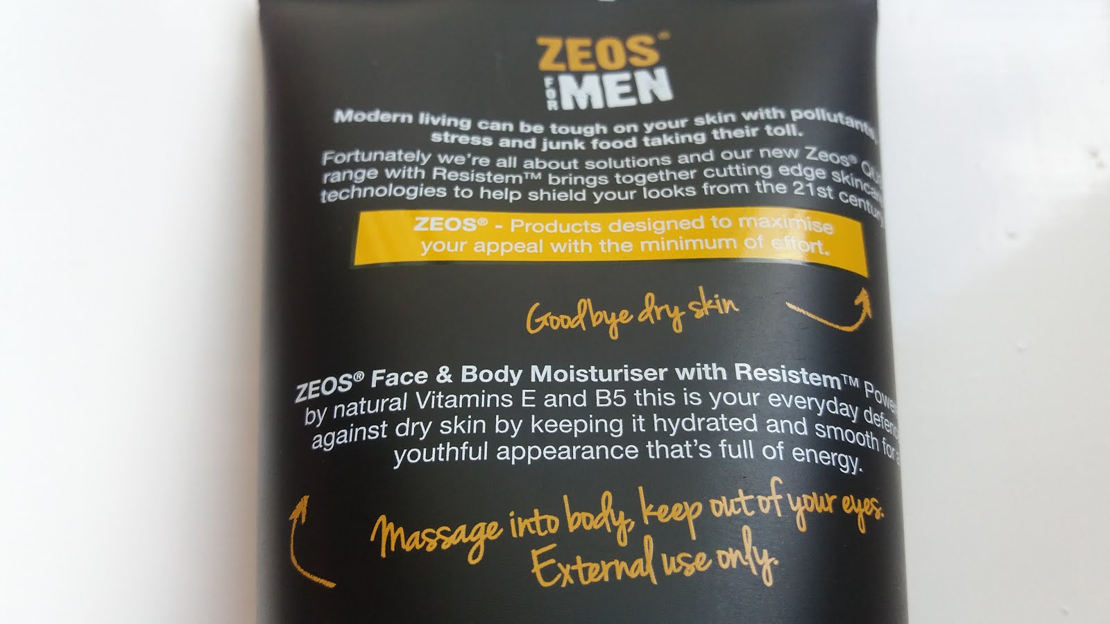 Zeos for men QU3 skincare range