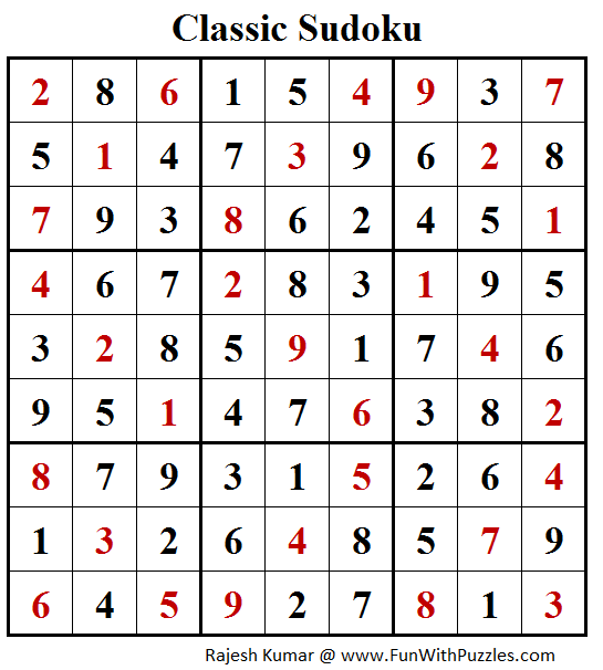 Classic Sudoku (Fun With Sudoku #162) Solution
