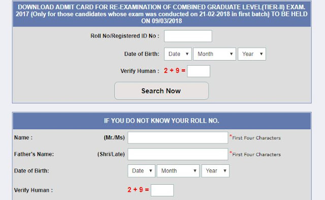 [Notice] SSC CGL 2017 Tier-2 Re-Exam Admit Card (9th March)-SSC Officer