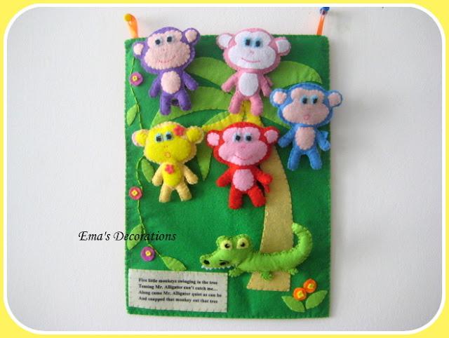 Five Little Monkeys Alligator Swinging From Tree In