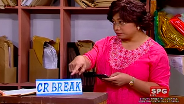 Aling Mary pointing out that she's still on her CR Break.